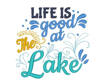 Life is good at the Lake 4x4 5x7 mermaid thing, summer, beach embroidery, summer vacation, mermaid embroidery