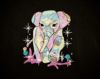 Elephant cat , sparkling stars elephant embroidery designs, rainbow embroidery, rainbow designs, elephant embroidery design pattern