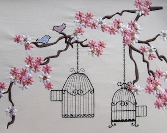 Cherry Blossom mini, Birds and cage awesome embroidery files collection for embroidery hoops 4x4, 5x7 and 6x10 INSTANT DOWNLOAD
