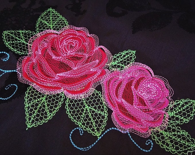 Urnban curl and swirl shadow and Shabby Chic Rose Urban roses bouquet - machine embroidery designs for embroidery hoops 4x4 5x7 and 6x10
