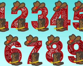 Simply Cowboy Birthday numbers - whole set - machine embroidery applique designs 5x7