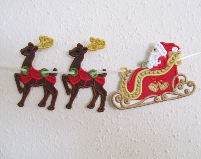 Santa Sleigh and deers banners - Very pretty and easy to make banners Embroidery Applique designs, sizes 4x4 and 5x7 DOWNLOAD