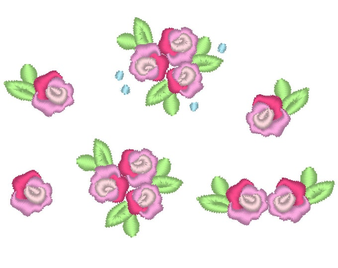 Accent mini rose, small rose, small flower, mini roses, mini, wee, machine embroidery design, Big set 0.8 and 1 inch, rose embroidery desing