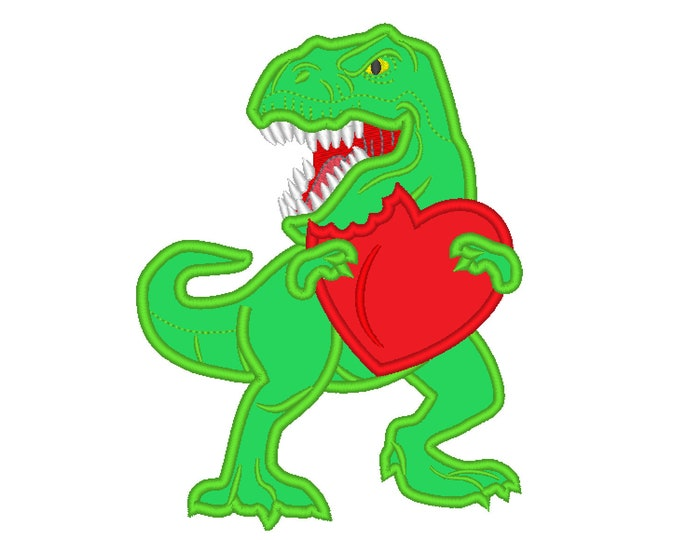 T-rex Valentine dinosaur Birthday with heart, machine embroidery love outfit designs - assorted sizes, for hoops 4x4, 5x7, 6x10