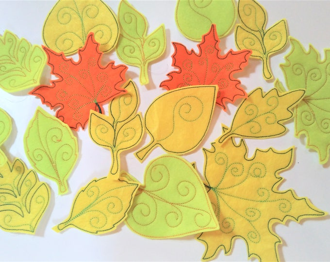 7 Simply In the hoop bow leaves, leaf bean stitch outline simple triple stitch outline embroidery applique design - assorted sizes