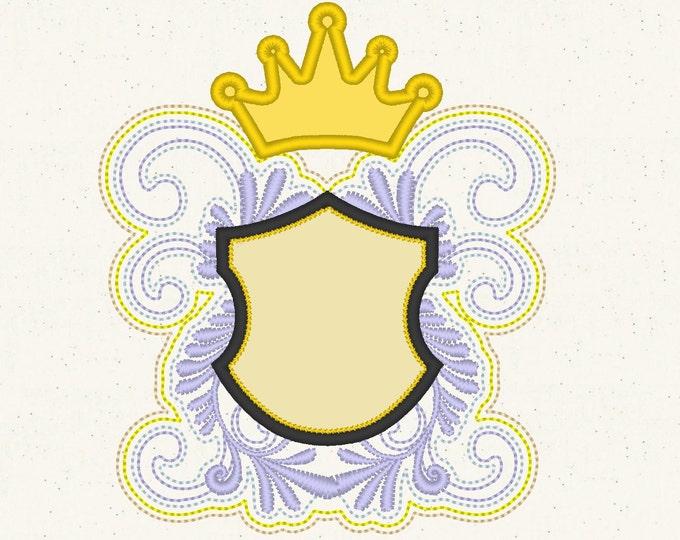 Princess Curl badge applique design for monogramming -  machine embroidery applique designs INSTANT DOWNLOAD  4x4, 5x7, 6x10, 8x12