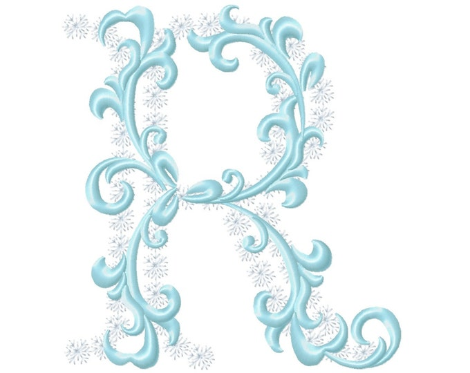 Frozen snow Christmas Individual letter R garden flag monogram snowflakes Font machine embroidery design 3, 4, 5, 6, 7, 8 in