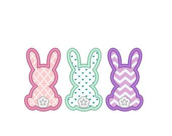Easter Trippe bunnies, Bunny Applique, triple bunnies row Applique Machine Embroidery machine embroidery applique designs INSTANT DOWNLOAD