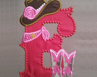 Cowgirl personalized Custom Letter, only one any letter to choose from the set - machine embroidery applique designs 5x7