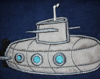 Submarine - machine embroidery applique and filled  design -  INSTANT DOWNLOAD for hoop 4x4, 5x7