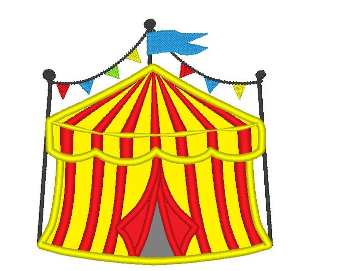 Big top Circus Tent - machine embroidery applique designs - for hoop 4x4, 5x7 an 6x10 INSTANT DOWNLOAD