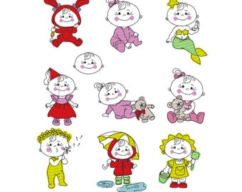 Baby Girl machine embroidery designs and outline applique designs, SET of 10 designs for hoop 4x4 and 5x7, adorable baby, INSTANT DOWNLOAD
