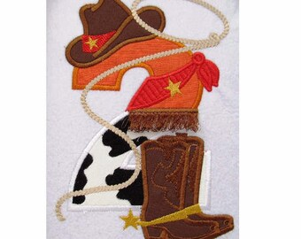 Cowboy Birthday Number 2- only number TWO  with rope, hat, boots... - machine embroidery applique designs 5x7  INSTANT DOWNLOAD