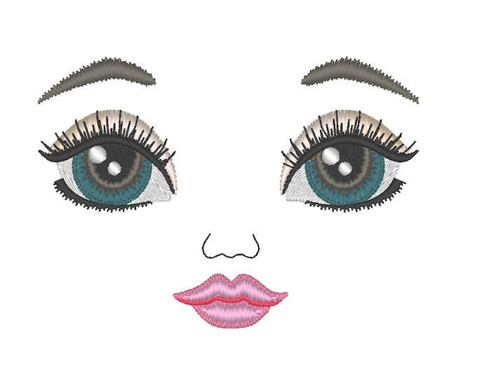 Iridescent  eyes doll face, eye, mouth, note eyebrow  machine embroidery designs complete face 2.5, 3, 3.5 4, 4.5 and 5 inches