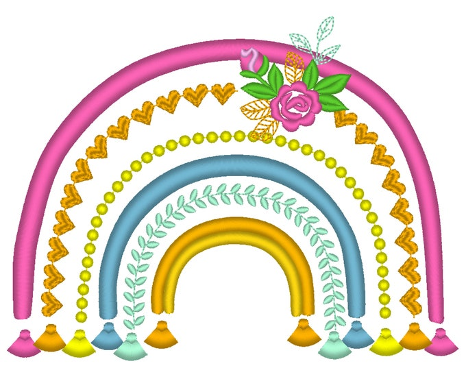 Boho rainbow with roses and tassels machine embroidery design assorted sizes hearts flower pearl floral delicate girly rainbow design