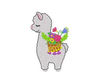Mini fill stitch small llama Floral Summer floral basket, flowers bouquet Lama machine embroidery designs for hoop 4x4