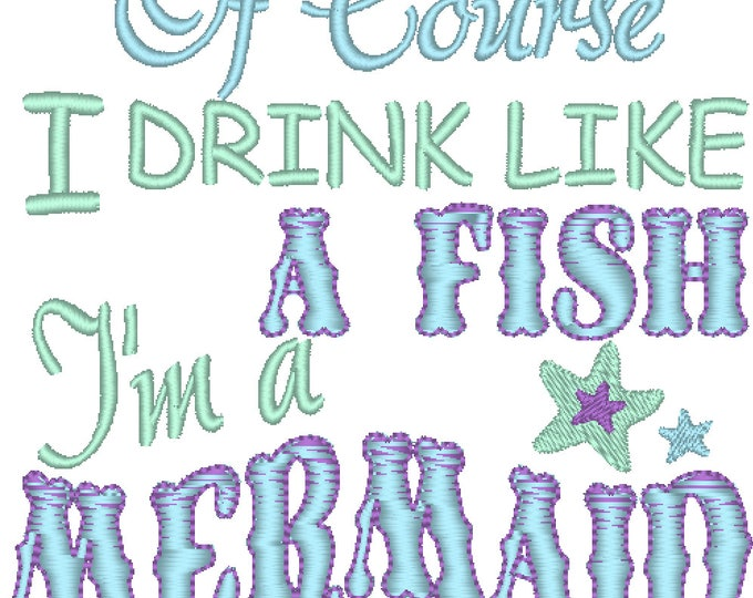 Mermaid Embroidery design 4x4 5x7 6x10  mermaid thing, summer, beach embroidery, summer vacation, mermaid embroidery,