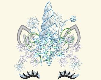 Light stitch Frozen Christmas Unicorn head with snowflakes crown light stitch machine embroidery designs unicorn face with snowflakes