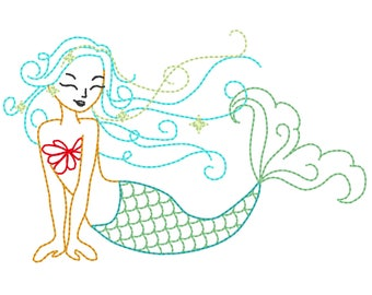 Mermaid sketch stitch outline bean triple, lock stitch embroidery designs 4x4 5x7 6x10 - mermaid simply urban curly embroidery design