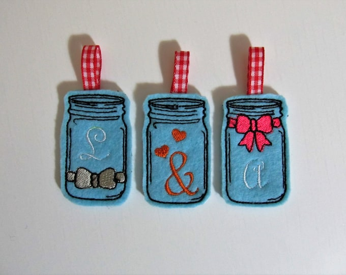 4 types In the hoop felties, mini mason jars, mini jar for her and him, Mr and Mrs key-fobs felties and mini font INSTANT DOWNLOAD