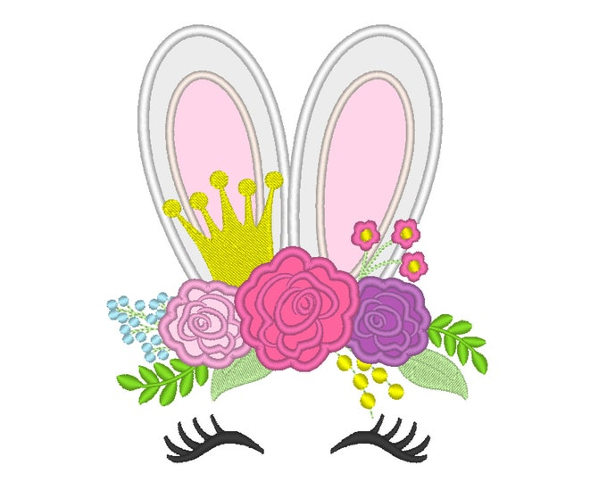 Easter Bunny princess with  roses 3 floral crown, bunny ears applique, bunny face machine embroidery designs 4x4 5x7 6x10