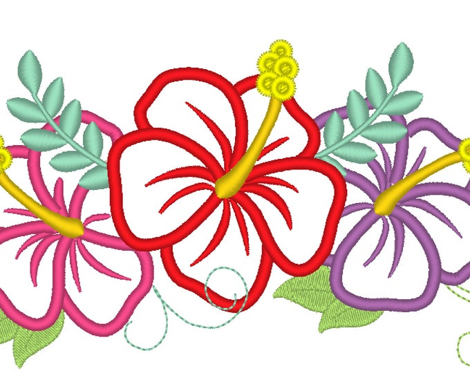 Simply summer Hawaii Hibiscus, shabby Chic flowers Bouquet crown - machine embroidery designs for embroidery hoops 4x4 and 5x7