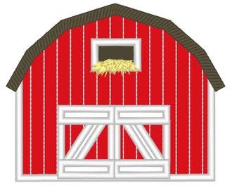 Barn applique, birthday  barn embroidery - cute farm theme machine embroidery applique designs 4x4 5x7 Barn applique for birthday shirts
