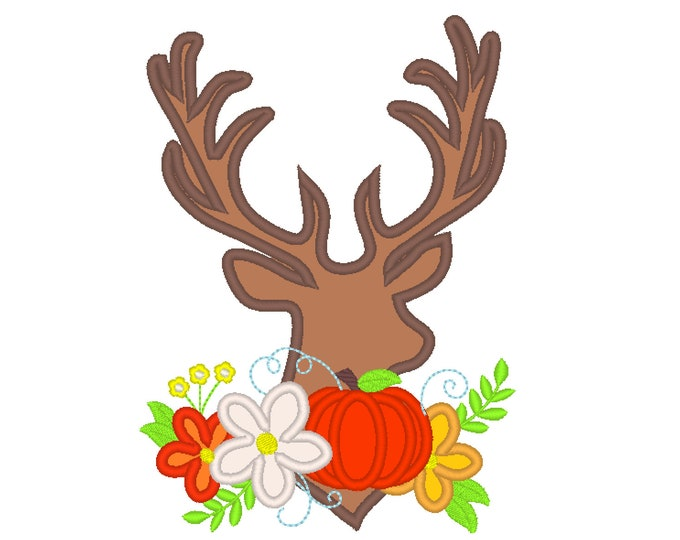 Autumn deer silhouette fall garden flag floral deer head with beautiful flowers crown applique machine embroidery designs