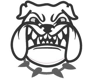 Bulldog mascot - machine embroidery applique and fill stitch designs  INSTANT DOWNLOAD