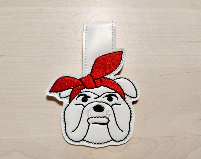 Bulldog face, Bulldog head, Bulldog with bandanna, Bulldog key fob, ITH key fob, mini embroidery design, feltie, in the hoop project
