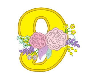 Farm Birthday number country style vintage french floral crown barn number NINE 9 machine embroidery design in assorted sizes