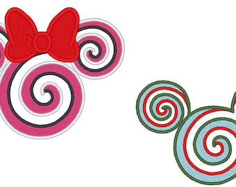Miss and Mister Magic Christmas Lollipop Candy - machine embroidery designs 4x4 and 5x7 Mouse Peppermint Applique