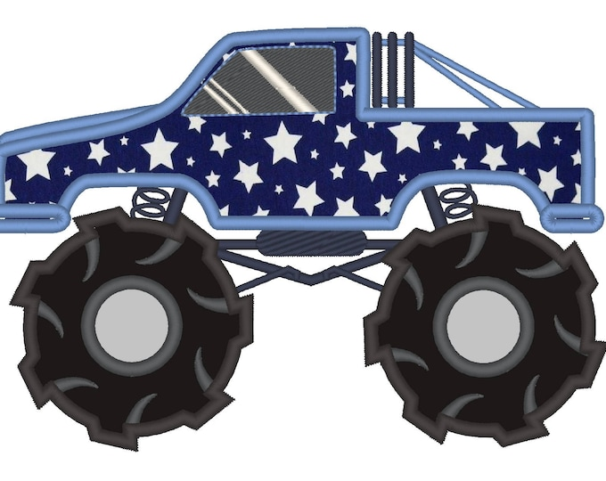 Monster Truck - machine embroidery applique  designs INSTANT DOWNLOAD 4x4 and 5x7. 6x10