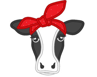 Cow face, cow head, cow with bandanna, Farm , cow applique, little cowhandkerchief - cute farm theme machine embroidery applique designs