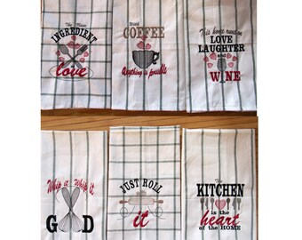 Discount 40% Kitchen quotes Pack price - 6 towel embroidery designs - quick stitch machine embroidery designs - 4x4, 5x7  INSTANT DOWNLOAD
