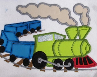 Birthday steam train - machine embroidery applique and fill stitch designs INSTANT DOWNLOAD