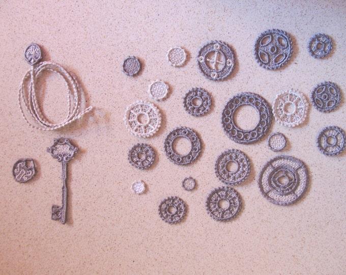 Gear, gears steam punk, skeleton Lace key, gear FSL, gears lace, FSL, Free standing jewelry embroidery designs  water soluble stabilizer