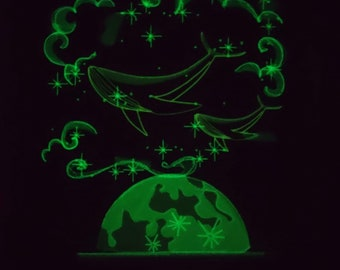 Imaginary whale in magic moon moonlight, glow in the dark special machine embroidery designs INSTANT DOWNLOAD