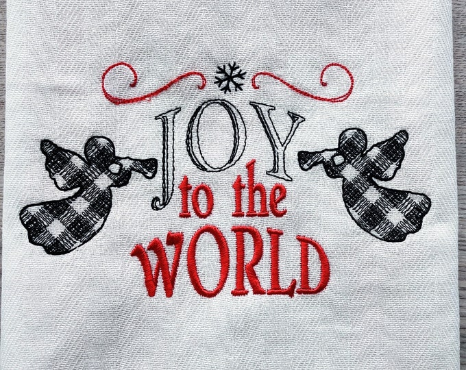 Joy to the world Merry Christmas gingham old fashioned classic Kitchen dish towel quote machine embroidery designs 4x4, 5x7