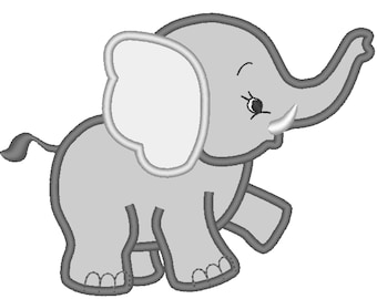 Little Elephant machine embroidery applique designs assorted sizes INSTANT DOWNLOAD  Machine Embroidery Designs, for  hoop 4x4, 5x7