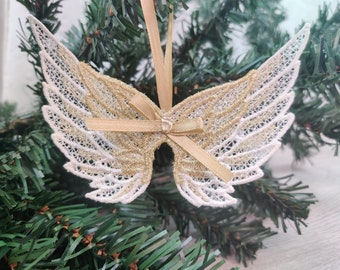 Angel wings FSL, Free standing lace angel wing Christmas decoration embroidery designs 4x4 5x7 assorted sizes