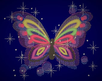 Galaxy butterfly , sparkling stars butterfly  embroidery designs, rainbow embroidery, rainbow designs, butterfly embroidery 4x4 and 5x7