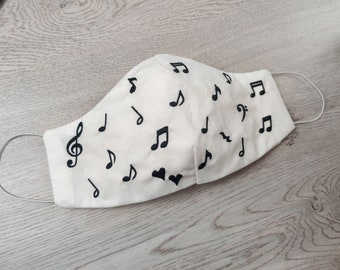 Delicate Music notes mask Easy protective Face Mask Machine Embroidery ITH project, In the hoop embroidery project to make face mask