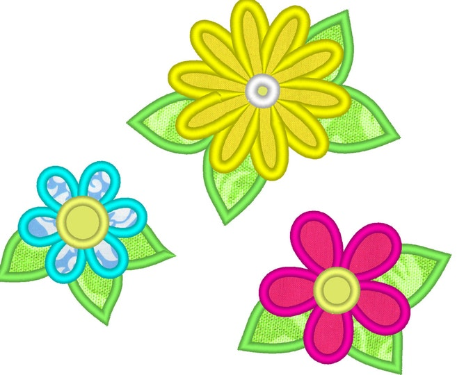 Summer, beautiful flowers applique collection / 3 different types & multiple sizes / flowers applique designs