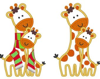 Giraffes - big/little/sister/brother machine embroidery applique designs - multiple sizes, for hoop 5x7, 6x10  INSTANT DOWNLOAD