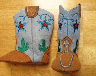 Noisy Baby Cowboy boots - Felt In the hoop project - cowboy boots pattern - machine embroidery ITH design