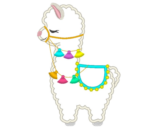 Little lama with fringe fluffy tassels, Fringe tassel applique llama, Lama boho, tassel, llama, ITH In the hoop machine embroidery design
