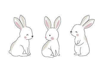 Easter bunny, Easter triple bunnies in a row, sketch, hand drawing silhouette outline Machine embroidery designs, triple bunnies row