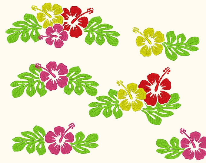 Hawaiian Aloha hibiscus flowers embroidery designs, may different variations, BIG set, may sizes INSTANT DOWNLOAD