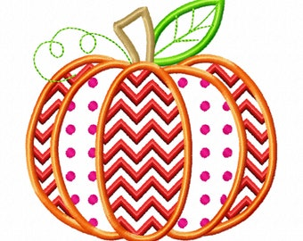 Pumpkin Patch Applique Design with polka dot and ric-rac as part of embroidery ~ Fall Pumpkin - awesome pumpkin embroidery, pumpkin applique